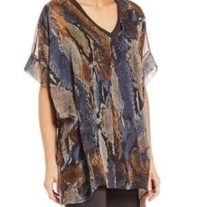 Bryn Walker Paola Snake Print Sheer Silk Tunic Top